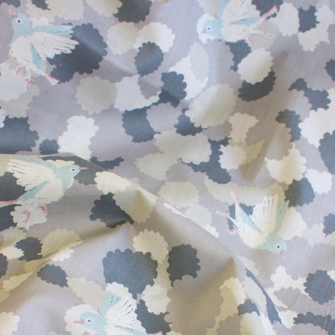 Cotori Lawn - Bluebirds in Grey
