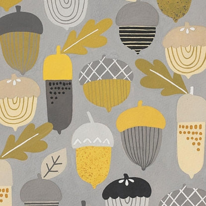 Alexander Henry Autumn Acorn in Grey Gold