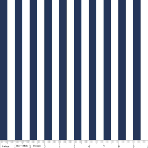 Riley Blake Stripes - 1/2 Inch in Navy