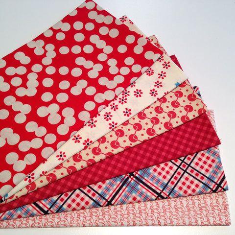 Fat Quarter Bundle - Red, White and Bright