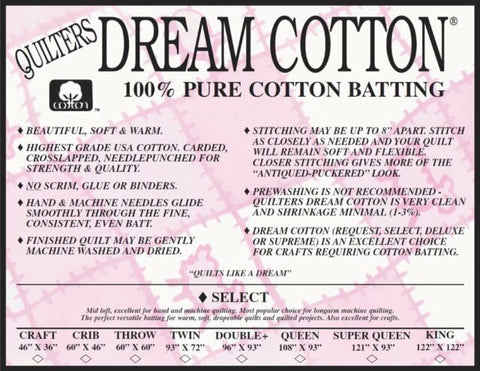 Dream Cotton Batting -  Select Throw Size