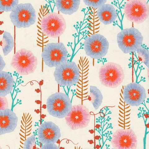 Santa Fe by Sarah Watts Hollyhocks in Natural Unbleached Cotton