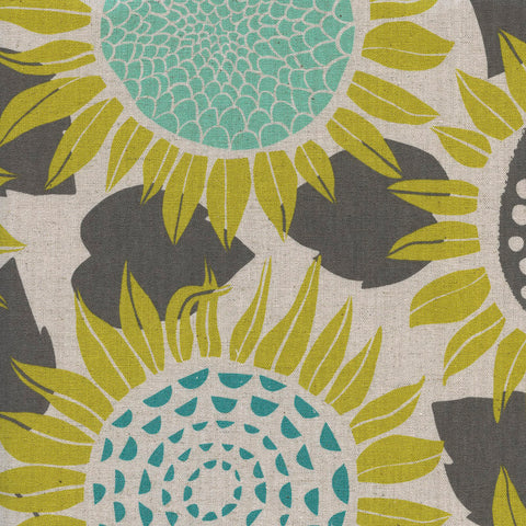 Front Yard by Sarah Watts - Sunflowers Cotton/Linen Canvas Fabric