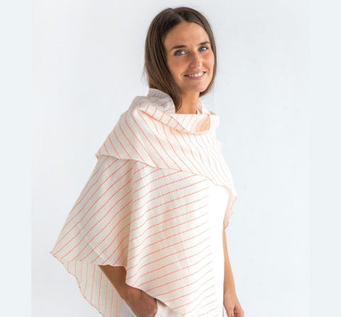 Katia Sari Flour - light weight crinkled cotton with neon stripe