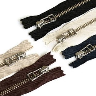 Metal Zippers - Two sizes and Five colours