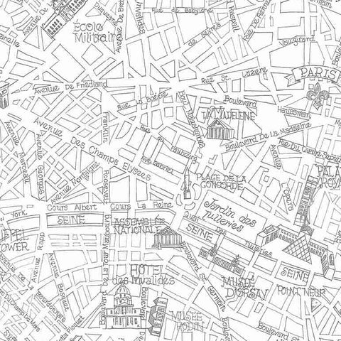 Bonjour Drawn Map of Paris in White