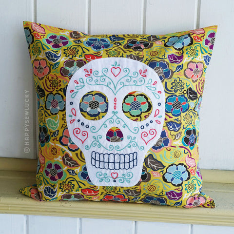 Sugar Skull Embroidered Pillow Kit