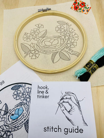 Hook Line & Tinker Embroidery Kit - Nest Egg