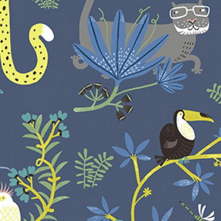 Clothworks Jungle Jive - Big Cat in Navy
