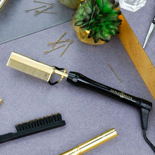 Load image into Gallery viewer, Gold-N-Hot Professional 24K Gold Pressing and Styling Comb