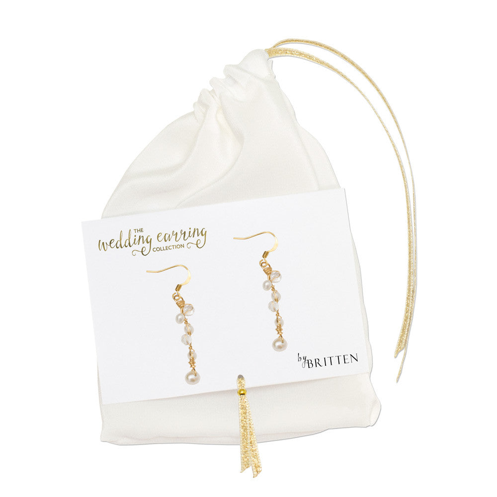 gold wedding earrings of crystal and freshwater pearls