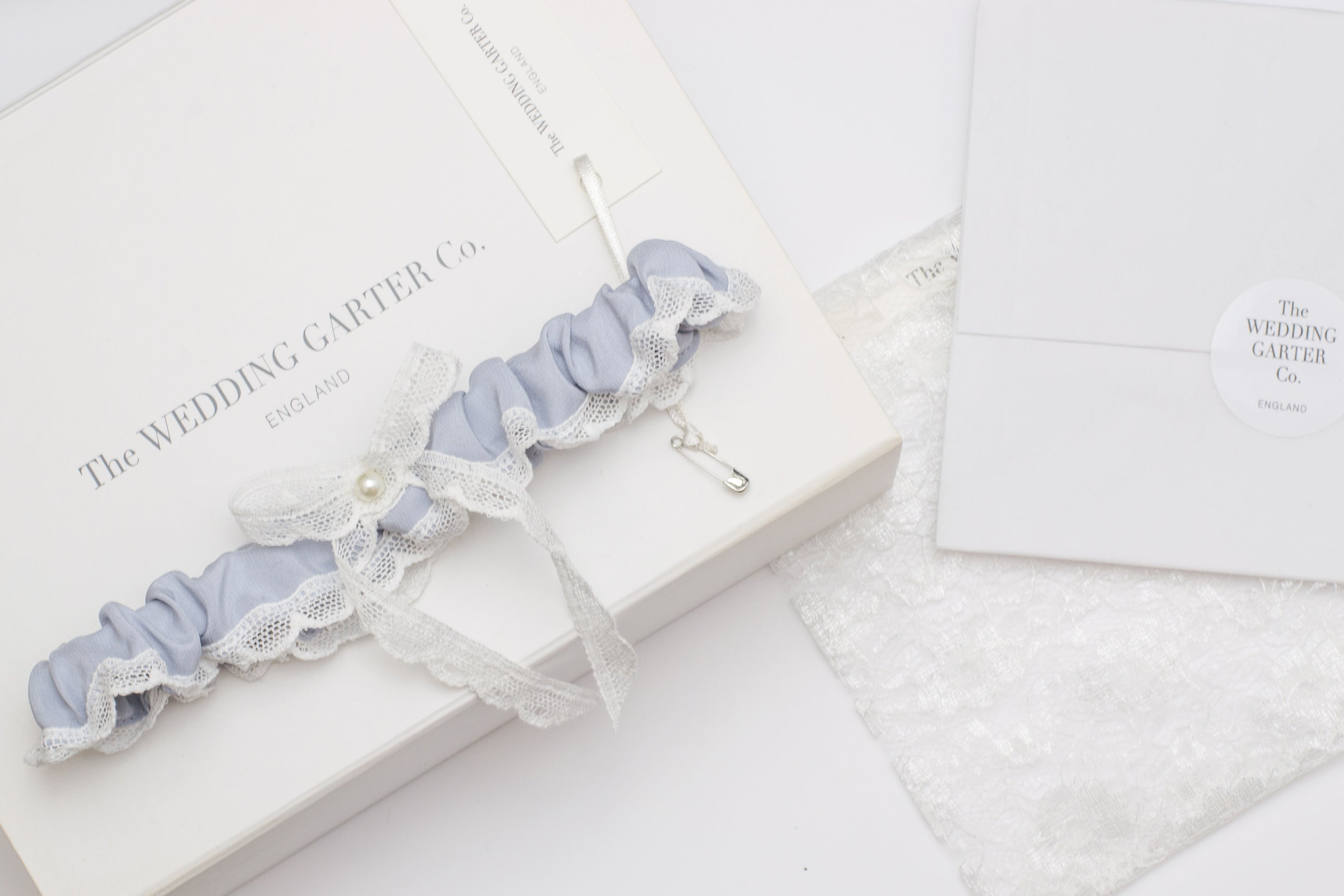 Lavender blue silk and lace wedding garter