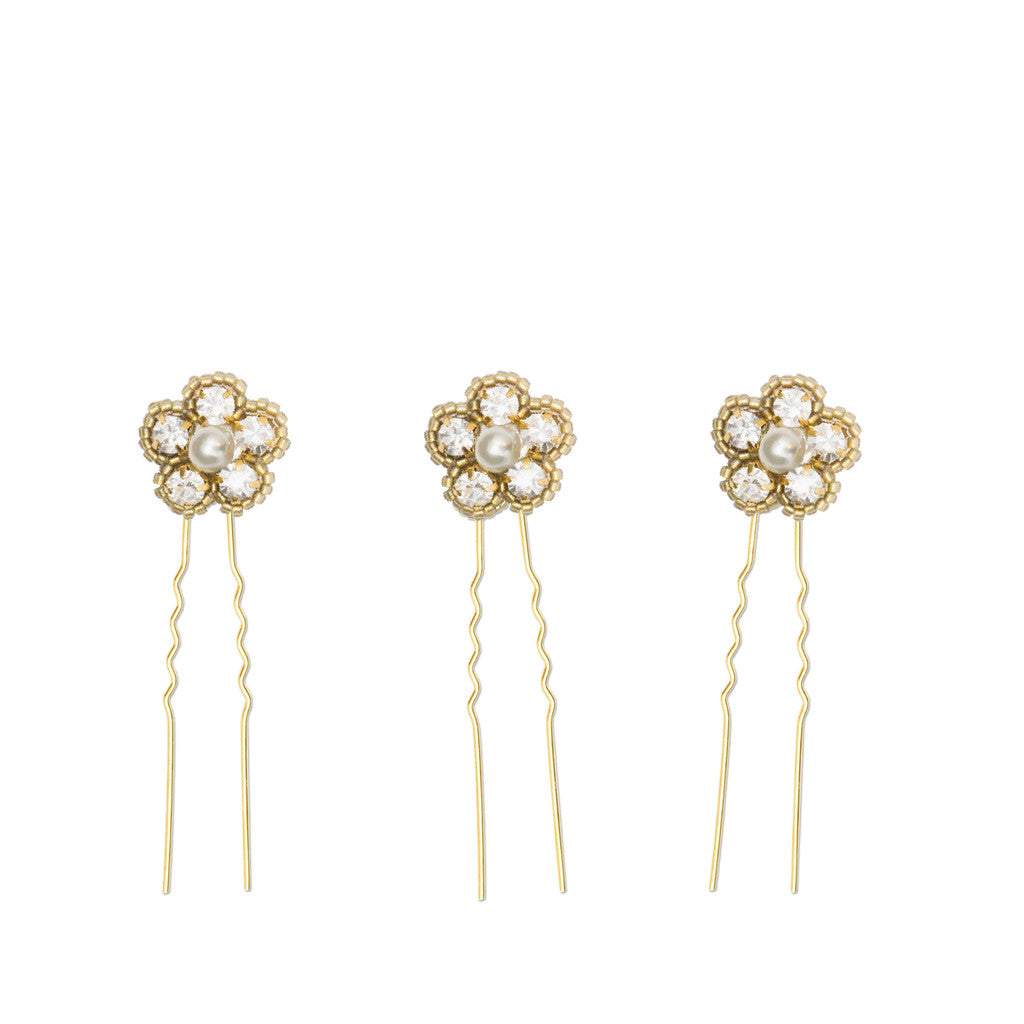 gold wedding hair pins