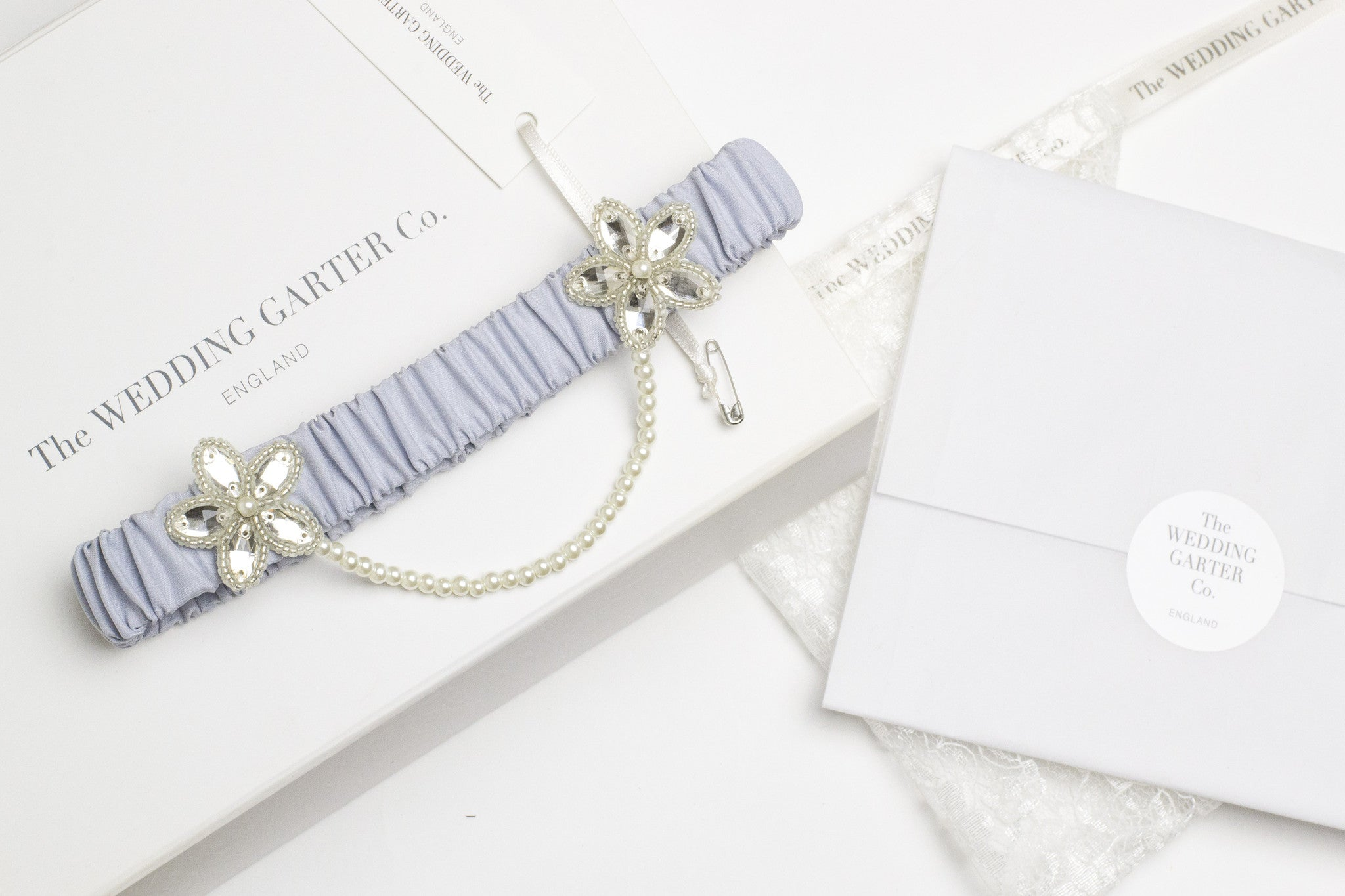 pale blue silk wedding garter