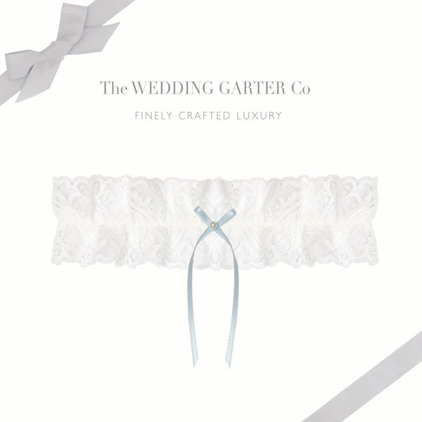 lace wedding garter with blue bow