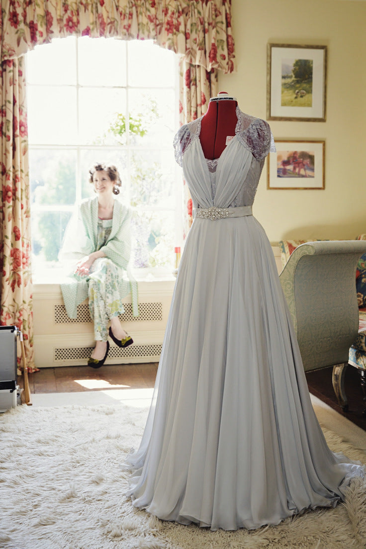 Grey chiffon handmade wedding dress