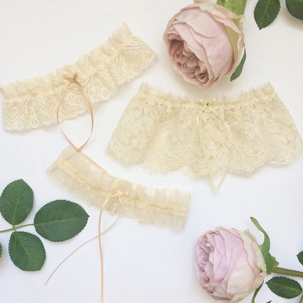 nude tulle wedding garter