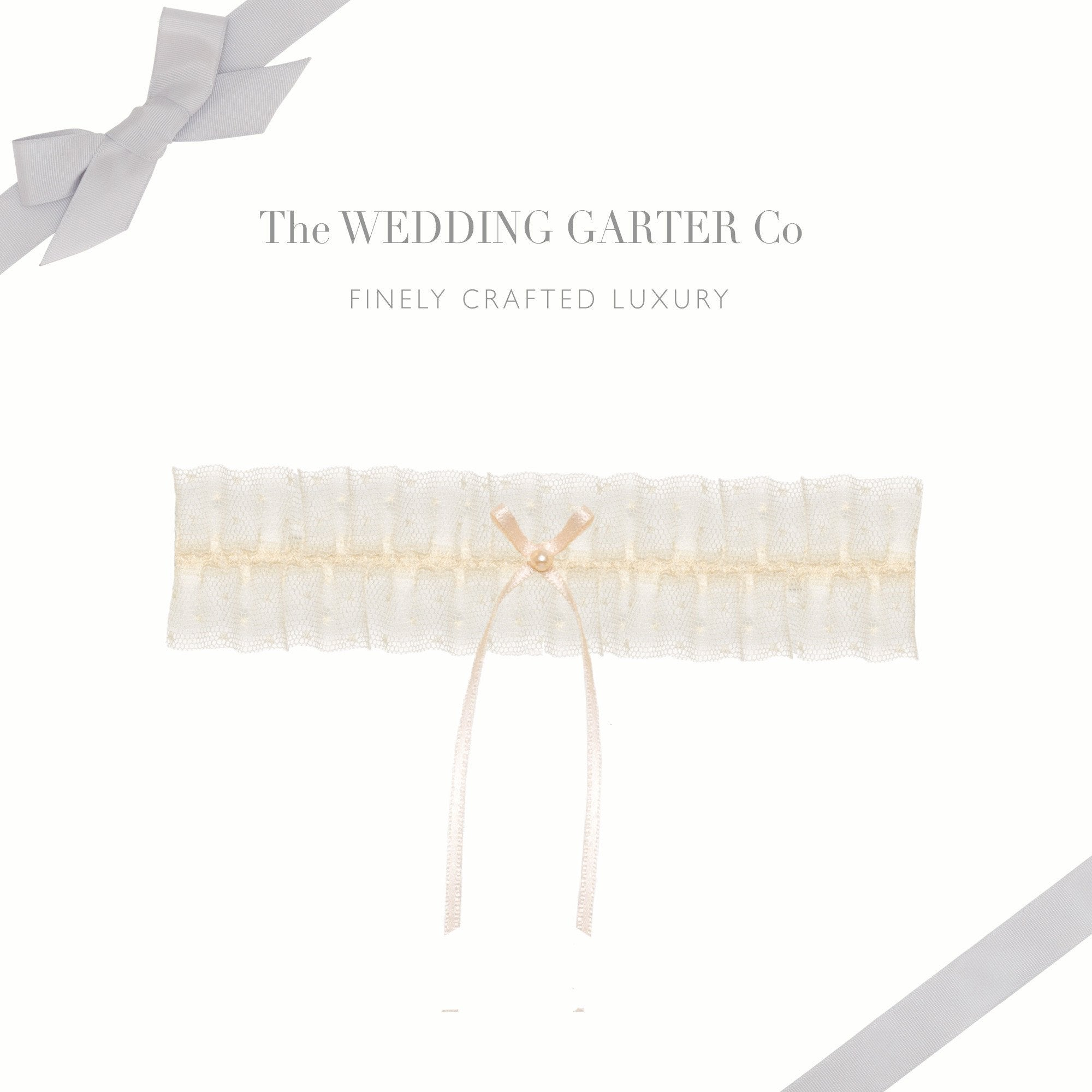 Polka dot tulle wedding garter