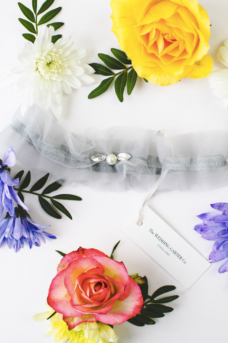 Something blue tulle wedding garter