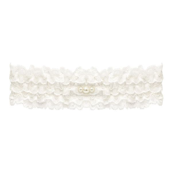 lace wedding garter with pearls