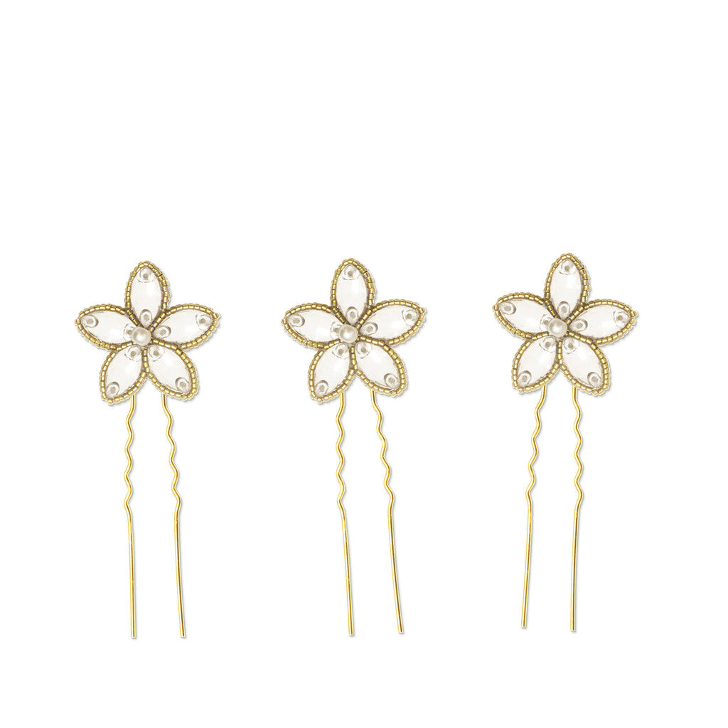 wedding hair pins in gold - Lena