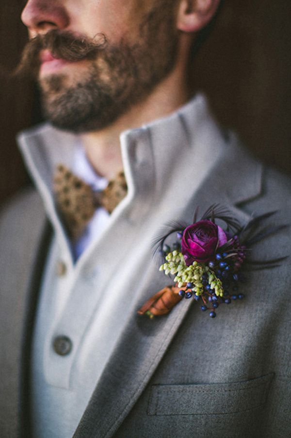 Purple and feather autumn buttonhole inspiration