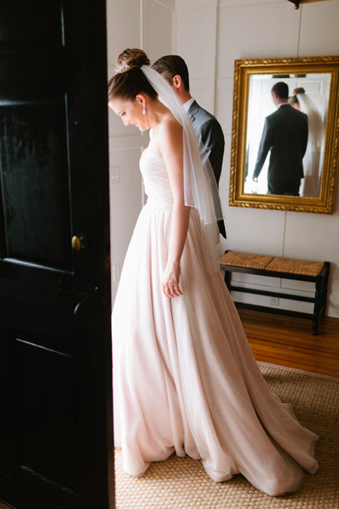 Antique pink wedding gown