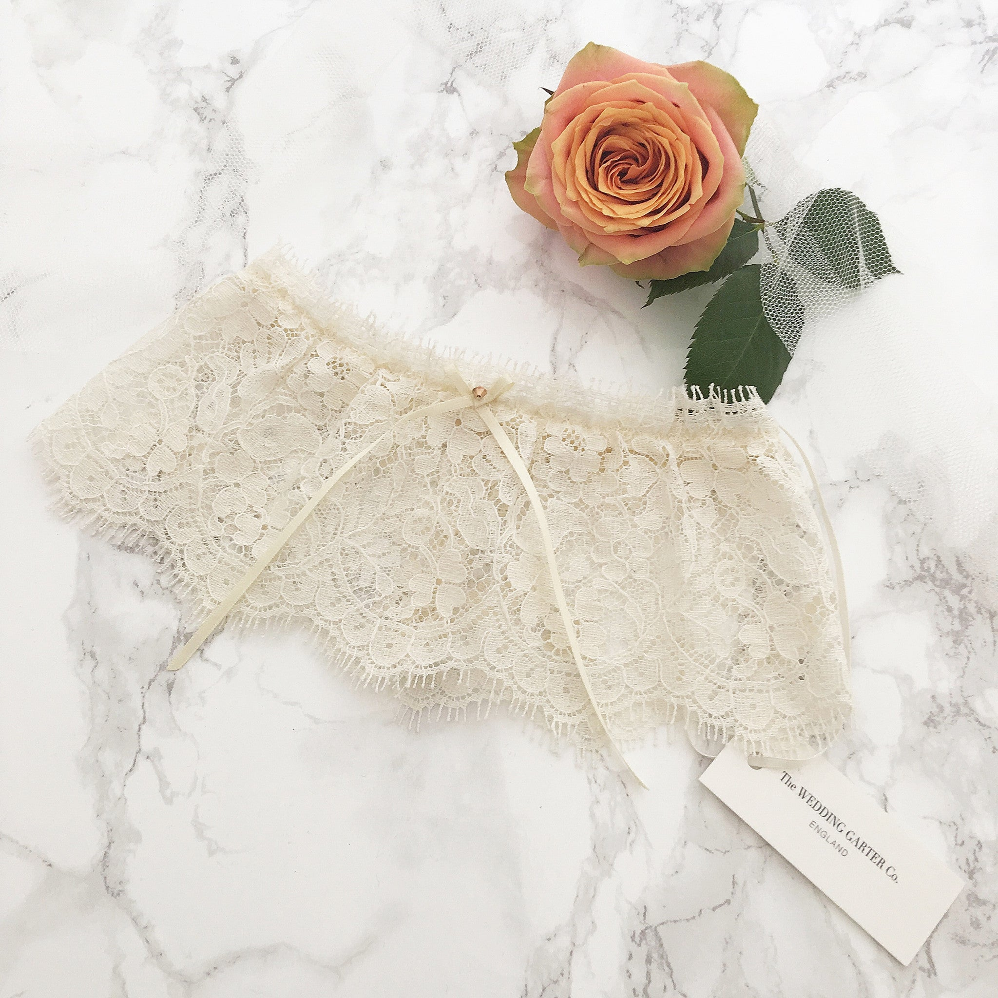 Nude Lace Wedding Garter With Rose Gold Stone