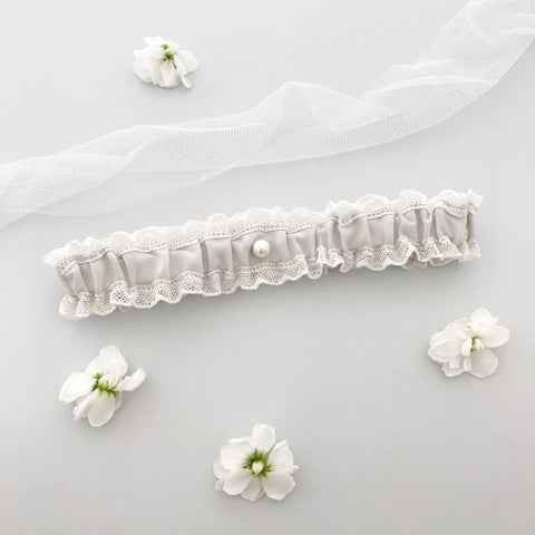 Wedding garter in lace & silk (various colours) - 'Florence'