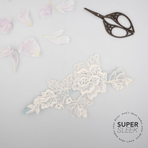 Lace motif and something blue garter - 'Amara'