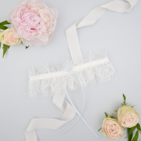 Eyelash lace garter with something blue bow
