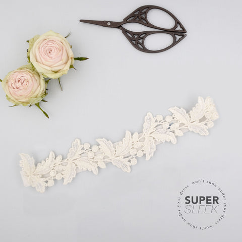 Super sleek lace leaf wedding garter - 'Juniper'