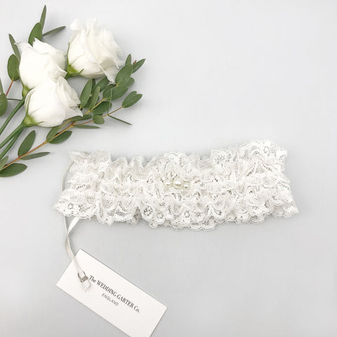 Lace & pearl wedding garter - 'Ella'