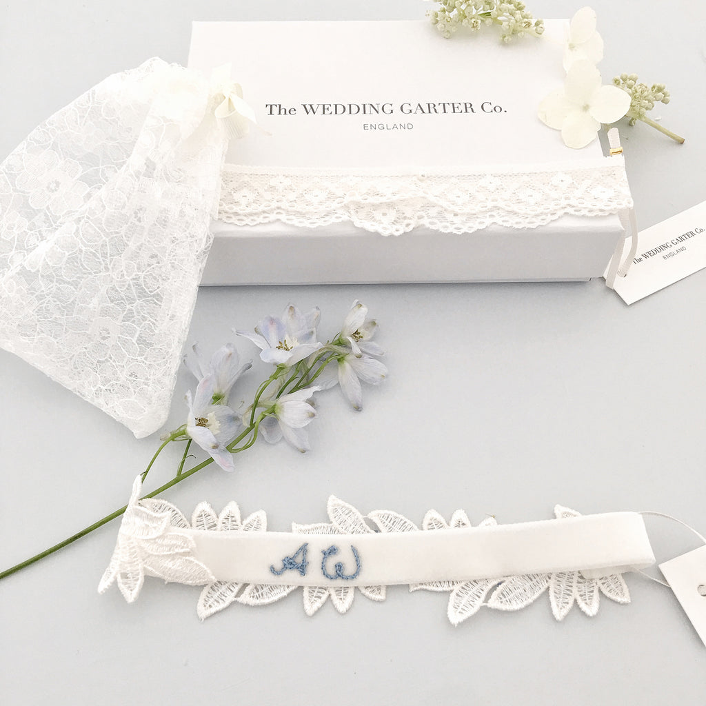 Personalised Embroidered Leaf Lace Wedding Garter - 'Meghan'