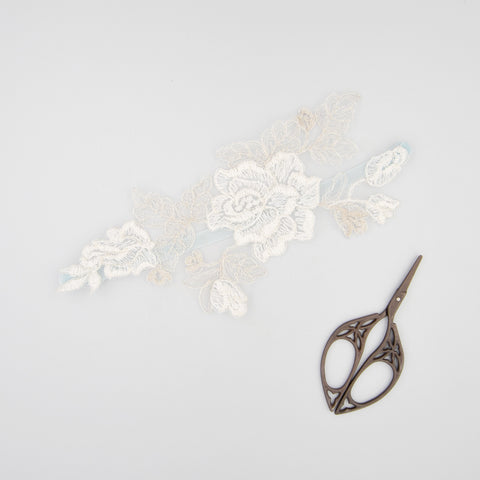 Silver and ivory lace motif and something blue garter - 'Amara'