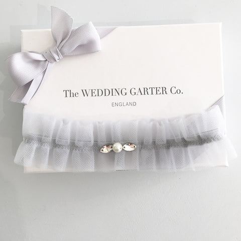 tulle blue wedding garter