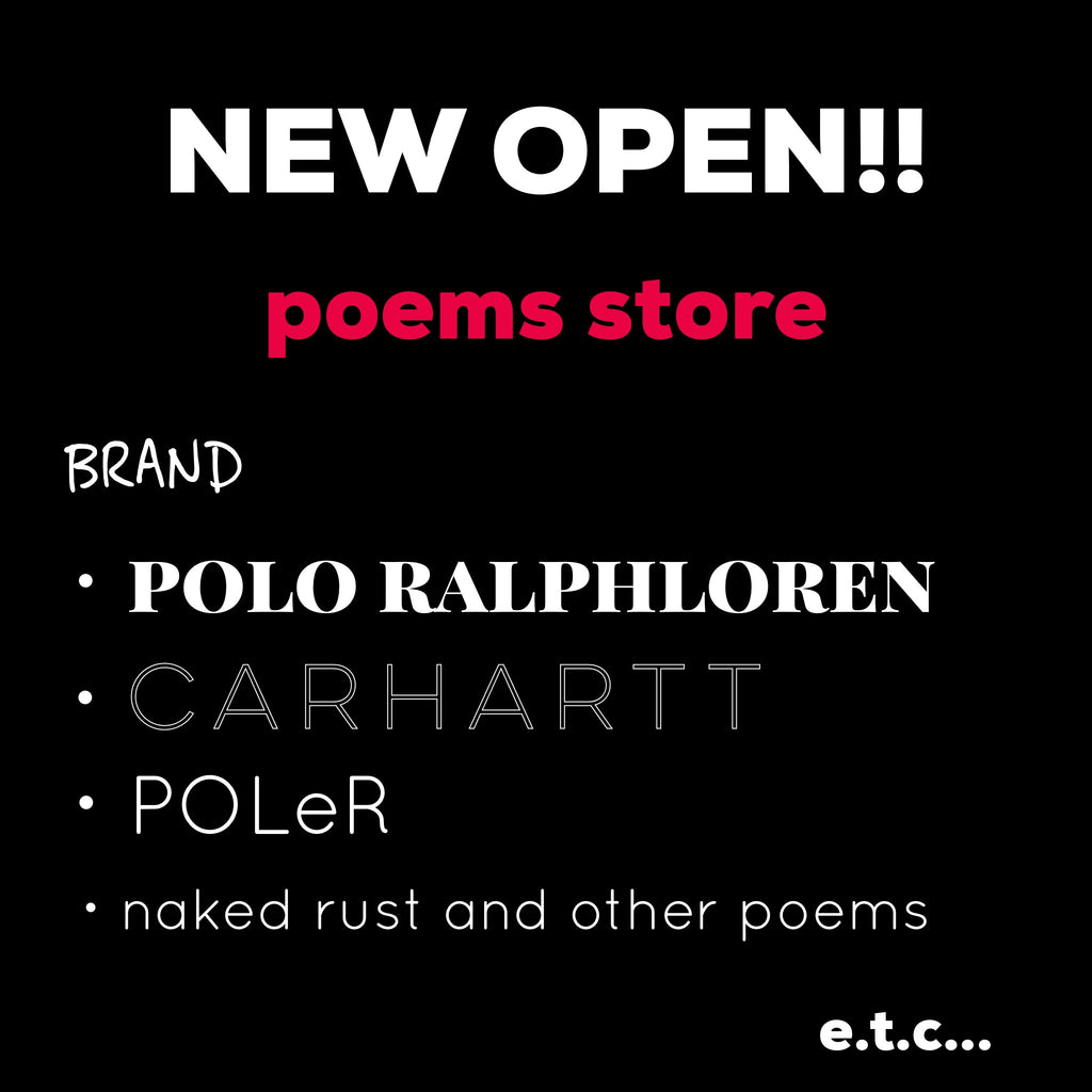 NEW OPEN! poems store!