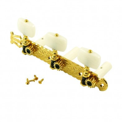Gotoh 3-On-A-Plate 39 mm Classical Tuning Machines Gold