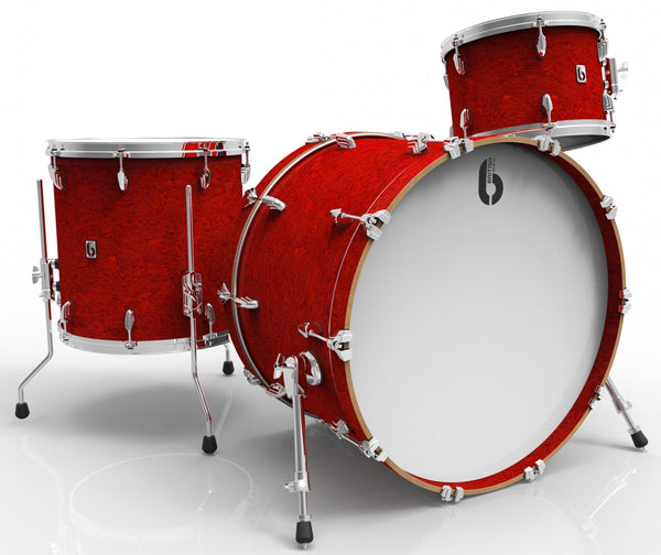 British Drum Co Legend Club 24 3-piece drum set, cold-pressed birch 6 mm shells, Buckingham Scarlett finish