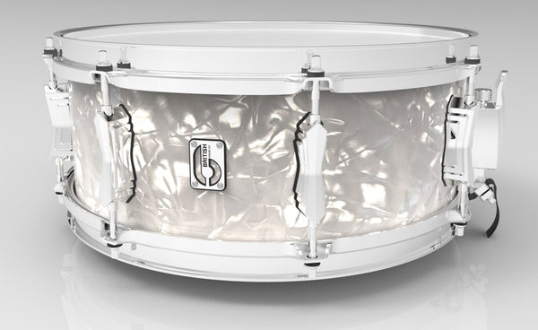 "British Drum Co. 14 x 5.5"" Lounge snare, mahogany & birch 5.5 mm blended shell, Windermere Pearl"