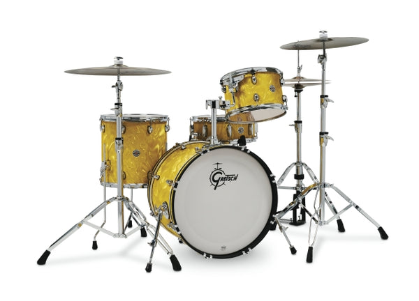Gretsch Drums Gretsch Catalina Club 4 Piece Shell Pack (20/12/14/14SN) Yellow Satin Flame, CT1-J404-YSF