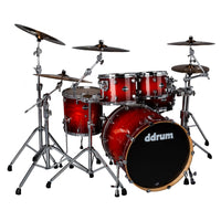 ddrum Dominion Birch 5pc Shell Pack with Veneer Red Burst