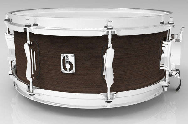 "British Drum Co. 14 x 6.5"" Lounge snare, mahogany & birch 5.5 mm blended shell, Kensington Crown"
