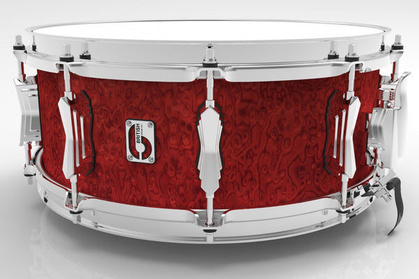 "British Drum Co. 14 x 6.5"" Legend snare, cold-pressed birch 6 mm shell, Buckingham Scarlett"