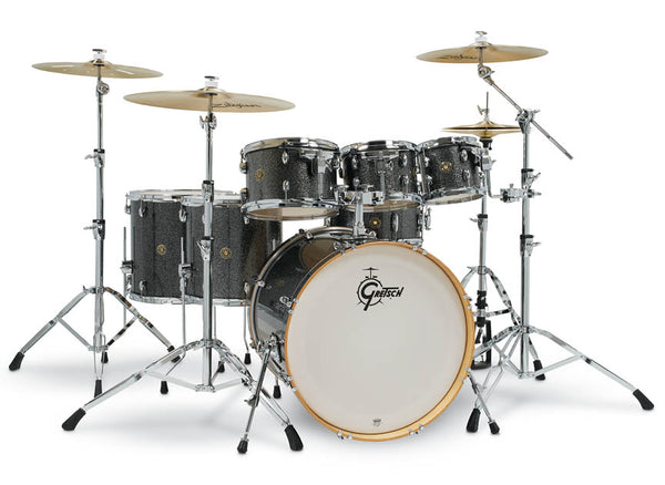 "Gretsch Drums Gretsch Catalina Maple 6 Piece Shell Pack w/Free Additional 8"" Tom Black Stardust (22/8/10/12/14/16/14SN), CM1-E826P-BS"