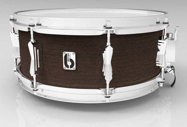 "British Drum Co. 14 x 5.5"" Lounge snare, mahogany & birch 5.5 mm blended shell, Kensington Crown"