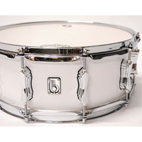 "British Drum Co. 14 x 6.5"" Legend snare, cold-pressed birch 6 mm shell, Piccadilly White"