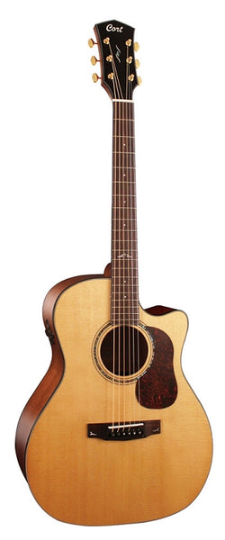 Cort Gold Series Auditorium Cutaway Body w/ Fishman Flex Blend Electronics, Case