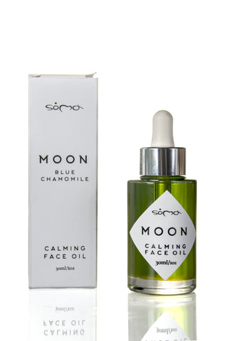 Best Oil for Neck Skin - Soma Botanicals Moon Calming Face Oil with Blue Chamomile