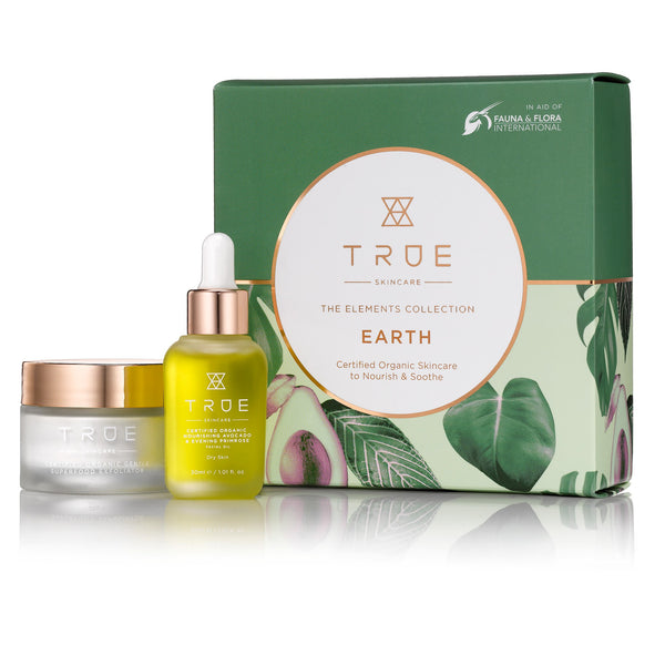 TRUE Skincare The Elements Collection EARTH, skincare to nourish, skincare to soothe, gentle face exfoliator, nourishing face oil, avocado oil, evening primrose oil, organic skincare, cruelty-free skincare, vegan skincare, waterless skincare, Milibie Beauty Store